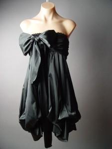 dream dress silver grey strapless with big cute bow